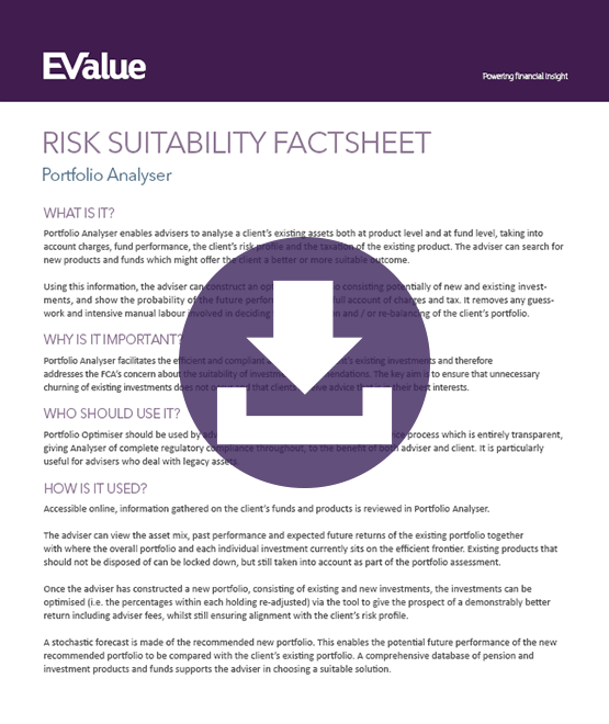 Risk suitability portfolio analyser document